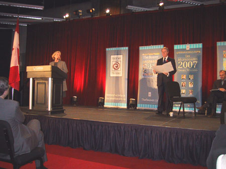 Mysteries Project Co-director Ruth Sandwell and broadcaster Don Newman at the 2007 National Forum on Canadian History in Ottawa, which was organized to coincide with ceremonies for the Pierre Berton Award.