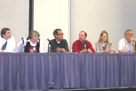 Executive Director Merna Forster, second from right, during panel discussion in Houston.