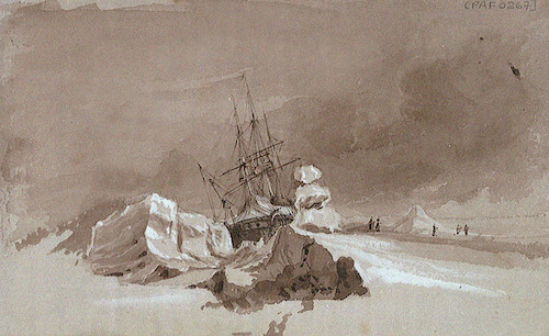 HMS Terror trapped in ice