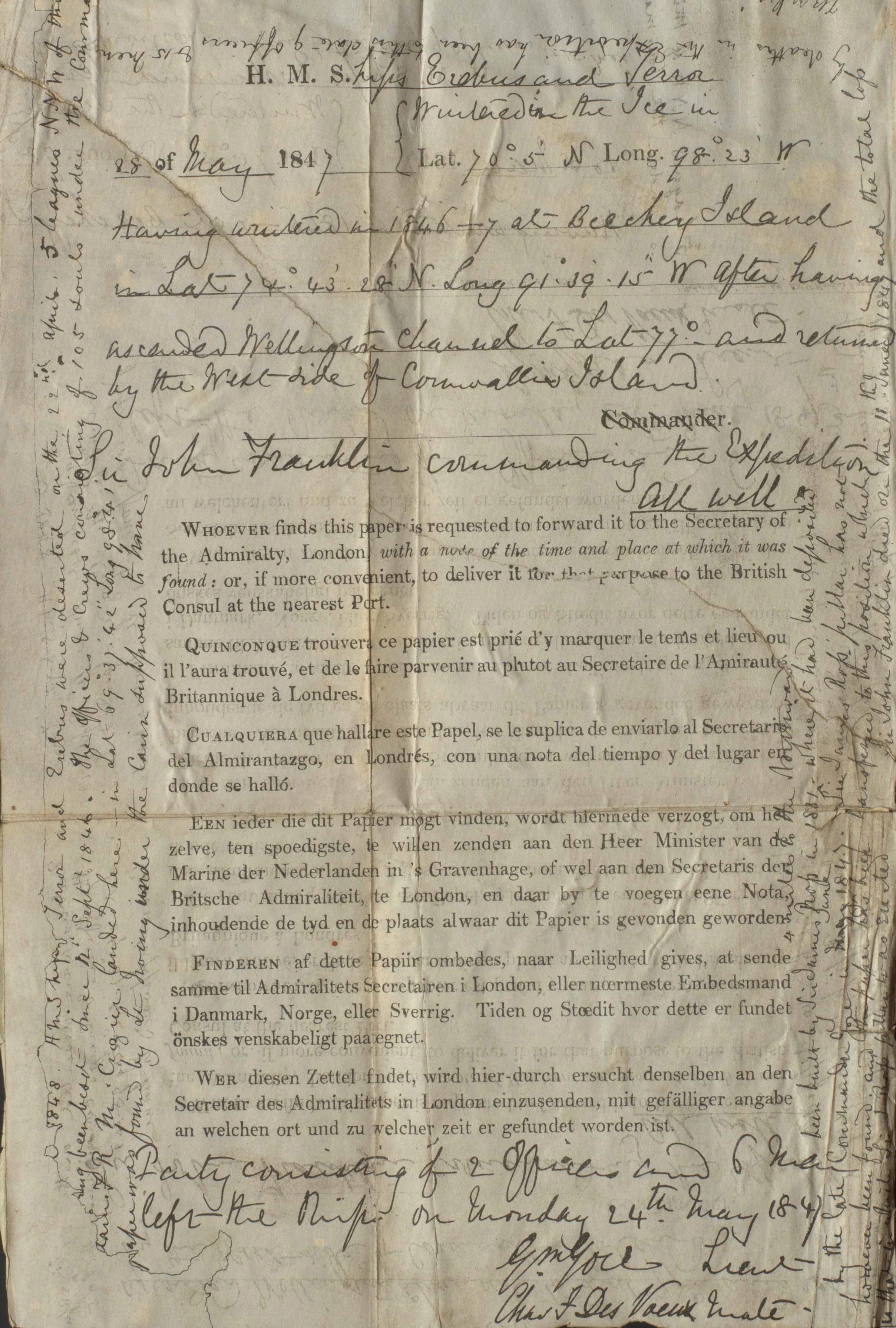 franklin expedition record  discovered by lieut  hobson at